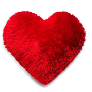 fur cushion heart shaped