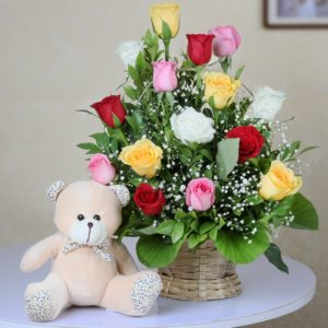 mix roses with teddy