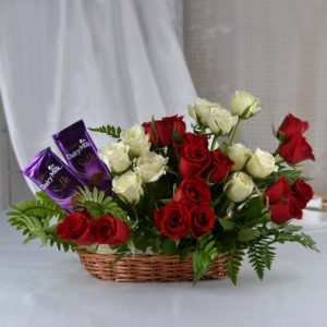 basket-of-15-red-and-10-white-roses-with-2-dairymilk-silk-chocolates-21106-m