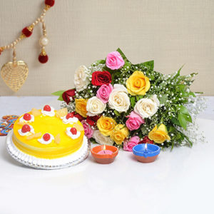 p-bunch-of-20-mix-roses-with-half-kg-pineapple-cake-2-earthen-diyas-43866-m